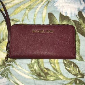 Michael Kors burgundy Wristlet/Wallet